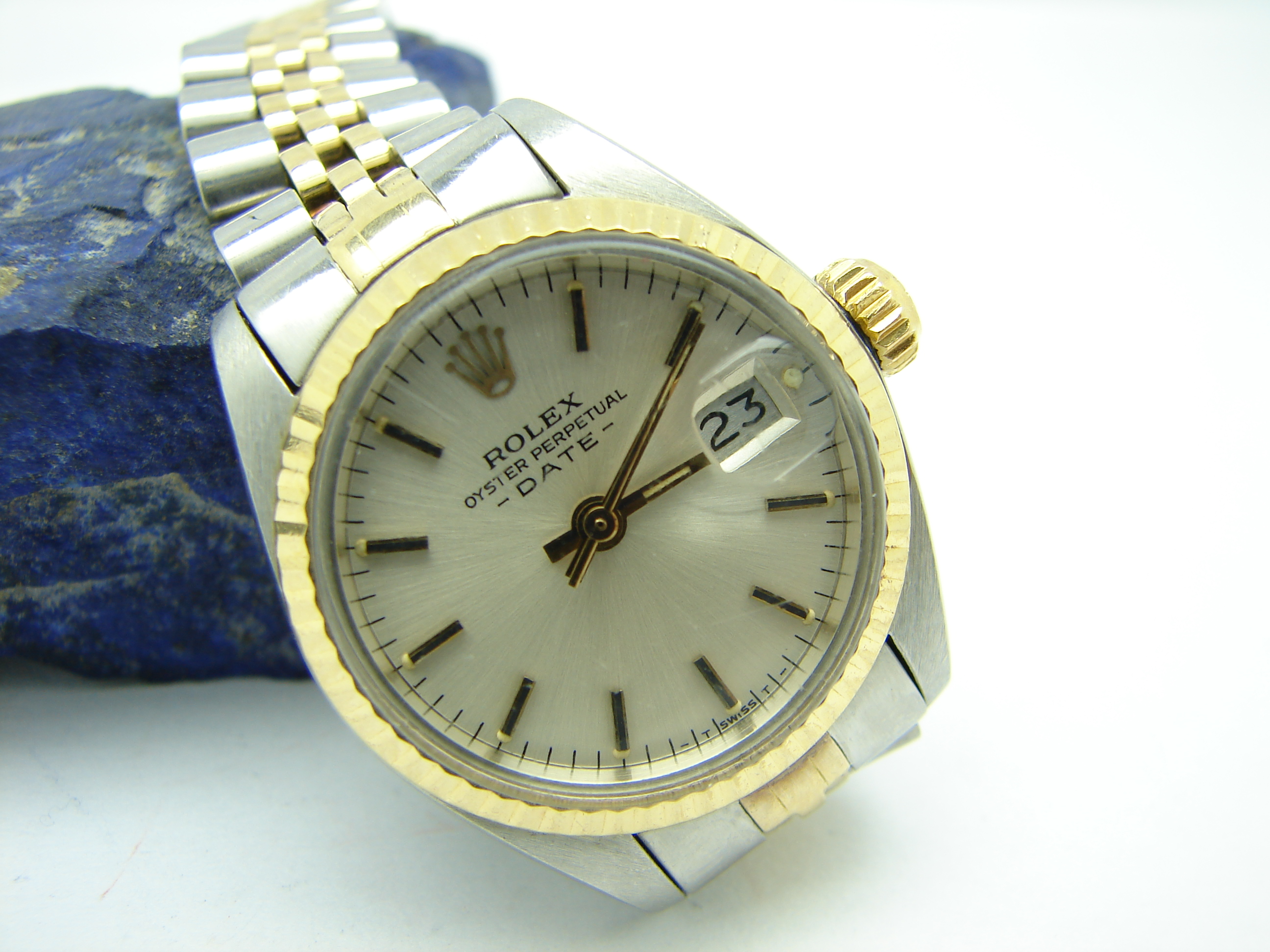 rolex damen uhr stahl gold 750 date oyster perpetual ref nr 6917 ebay. Black Bedroom Furniture Sets. Home Design Ideas